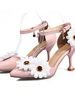 abordables -Mujer Zapatos PU Otoño invierno D'Orsay y Dos Piezas Zapatos de boda Tacón Kitten Dedo Puntiagudo Flor de Satén / Hebilla Blanco / Rosa / Boda / Fiesta y Noche