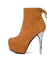 abordables -Femme Chaussures Daim Automne hiver Confort / Bottes à la Mode Bottes Talon Aiguille Noir / Gris clair / Chameau
