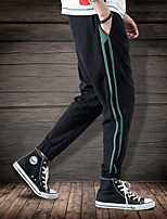 cheap -Men's Pocket / Drawstring / Beam Foot Running Pants / Track Pants - Black, Coffee, Army Green Sports Stripe Bottoms Fitness, Workout Activewear Breathable, Sweat-wicking Micro-elastic Slim