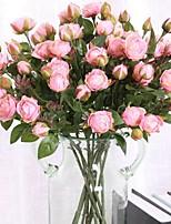 baratos -Flores artificiais 3 Ramo Clássico / Solteiro (L150 cm x C200 cm) Estiloso / Pastoril Estilo Rosas Flor de Mesa