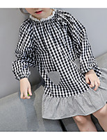 cheap -Kids Girls' Solid Colored / Check Long Sleeve Dress