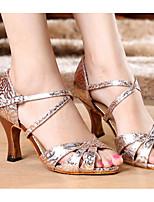 Недорогие -Жен. Обувь для латины Полиуретан На каблуках Тонкий высокий каблук Танцевальная обувь Золотой / Пурпурный