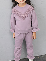 cheap -Kids Girls' Basic Solid Colored Long Sleeve Cotton Clothing Set