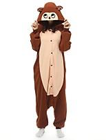 abordables -Adulte Pyjamas Kigurumi Singe Combinaison de Pyjamas Polaire Café Cosplay Pour Pyjamas Animale Dessin animé Halloween Fête / Célébration / Noël
