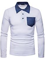 Недорогие -Муж. Polo Хлопок, Рубашечный воротник Контрастных цветов / Длинный рукав