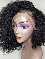 Недорогие -Парики из искусственных волос / Синтетические кружевные передние парики Кудрявый Боковая часть Искусственные волосы 12 дюймовый С детскими волосами / Природные волосы / Боковая часть Черный Парик Жен.