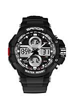 Недорогие -SANDA Муж. Спортивные часы электронные часы Японский Цифровой 30 m Защита от влаги Календарь Хронометр Plastic Группа Аналого-цифровые Роскошь Мода Черный -  / Фосфоресцирующий