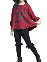 Недорогие -Дети Девочки Активный / Уличный стиль Спорт Полоски Оборки / Пэчворк / С принтом Длинный рукав Хлопок Набор одежды