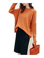 cheap -Women's Long Sleeve Loose Pullover - Solid Colored / Spring / Fall