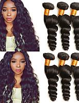 Недорогие -3 Связки Малазийские волосы Свободные волны Натуральные волосы Подарки / Головные уборы / Человека ткет Волосы 8-28 дюймовый Черный Естественный цвет Ткет человеческих волос Машинное плетение