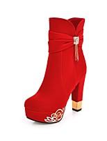 Недорогие -Жен. Fashion Boots Замша Наступила зима Милая Ботинки На толстом каблуке Круглый носок Сапоги до середины икры Бусины / С кисточками Черный / Красный / Для вечеринки / ужина
