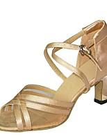 preiswerte -Damen Schuhe für den lateinamerikanischen Tanz Satin Sandalen / Absätze Keilabsatz Maßfertigung Tanzschuhe Schwarz / Kaki