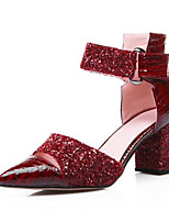 Недорогие -Жен. Обувь Наппа Leather Весна Удобная обувь Обувь на каблуках На толстом каблуке Черный / Красный