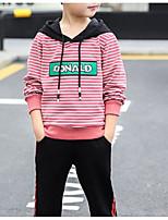 Недорогие -Дети Мальчики Классический Полоски Шнуровка / С принтом Длинный рукав Хлопок Набор одежды