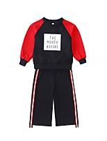 Недорогие -Дети Девочки Классический Спорт / Школа С принтом Длинный рукав Хлопок Набор одежды