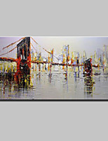abordables -Pintura al óleo pintada a colgar Pintada a mano - Paisaje / Arquitectura Modern Lona