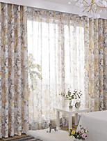 cheap -Curtains Drapes Bedroom Floral Polyester Printed