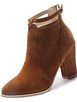 Недорогие -Жен. Fashion Boots Полиуретан Осень На каждый день Ботинки На толстом каблуке Сапоги до середины икры Черный / Бежевый / Миндальный