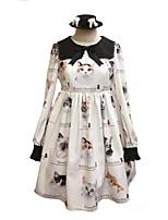 economico -Dolce Abito casual Lolita Alla moda Dolce Per femmina Vestiti Stile Carnevale di Venezia Cosplay Bianco Rimborsate Manica lunga Al ginocchio Costumi Halloween