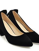 Недорогие -Жен. Комфортная обувь Замша Весна Обувь на каблуках На толстом каблуке Черный / Красный