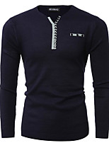 cheap -men's long sleeve pullover - solid colored v neck