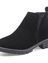 Недорогие -Жен. Fashion Boots Полиуретан Осень На каждый день Ботинки На толстом каблуке Круглый носок Черный / Зеленый