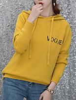 Недорогие -Жен. Длинный рукав Пуловер - Буквы Капюшон