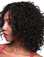 cheap -Remy Human Hair Full Lace Wig Brazilian Hair Loose Curl Wig Bob Haircut / Layered Haircut 130% Natural Hairline / Middle Part / Side Part Natural Women's Short Human Hair Lace Wig