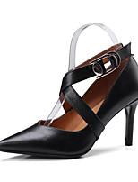 Недорогие -Жен. Обувь Наппа Leather Весна Удобная обувь Обувь на каблуках На шпильке Черный / Красный / Миндальный