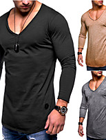 cheap -Men's V Neck Sexy Running Shirt - Brown, Grey, Dark Navy Sports Solid Color, Fashion Top Running, Fitness, Gym Long Sleeve Activewear Lightweight, Quick Dry, Breathable Micro-elastic