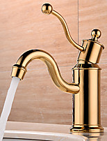 cheap -Bathroom Sink Faucet - Widespread / New Design Gold Deck Mounted Single Handle One Hole