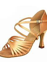 baratos -Mulheres Sapatos de Dança Latina Cetim Sandália / Salto Salto Carretel Personalizável Sapatos de Dança Prata / Marron / Caqui