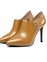 Недорогие -Жен. Ботильоны Наппа Leather Осень Ботинки На шпильке Ботинки Черный / Коричневый