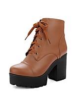 Недорогие -Жен. Комфортная обувь Полиуретан Наступила зима Ботинки На толстом каблуке Черный / Бежевый / Желтый