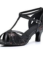 Недорогие -Жен. Обувь для латины Сатин На каблуках Толстая каблук Танцевальная обувь Черный