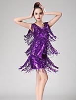 abordables -Baile Latino Vestidos Mujer Rendimiento Licra Borla / Lentejuela Sin Mangas Vestido