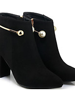 cheap -Women's Shoes Suede Fall & Winter Comfort / Fashion Boots Boots Chunky Heel Booties / Ankle Boots Black / Red