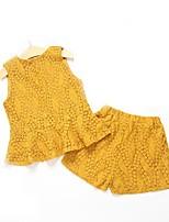 Недорогие -Дети Девочки Жаккард Без рукавов Набор одежды