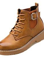 Недорогие -Жен. Полиуретан Осень Армейские ботинки Ботинки На плоской подошве Круглый носок Черный / Военно-зеленный / Темно-коричневый