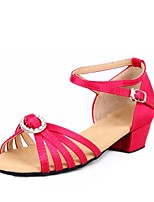 cheap -Girls' Latin Shoes Satin Sandal Rhinestone Thick Heel Customizable Dance Shoes Black / Orange / Fuchsia