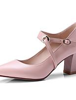 Недорогие -Жен. Комфортная обувь Наппа Leather Весна Обувь на каблуках На толстом каблуке Белый / Черный / Розовый