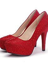 Недорогие -Жен. Комфортная обувь Замша Зима Обувь на каблуках На шпильке Черный / Красный