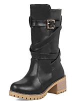 Недорогие -Жен. Fashion Boots Полиуретан Наступила зима Ботинки Для велоспорта Блочная пятка Круглый носок Сапоги до середины икры Черный / Серый / Миндальный