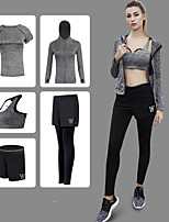 cheap -Women's Racerback / Pocket 5pcs Tracksuit / Yoga Suit - Gray, Purple, Green Sports Letter Hoodie / Pants / Trousers / Shirt Yoga, Running, Fitness Activewear Quick Dry, Breathable, Sweat-wicking High