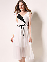 cheap -SHIHUATANG Women's Street chic Chiffon Dress - Color Block Bow