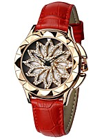 cheap -SANDA Women's Dress Watch Wrist Watch Japanese Quartz 30 m Water Resistant / Water Proof Hollow Engraving New Design Genuine Leather Band Analog Casual Fashion Black / White / Red - Gray Brown Red