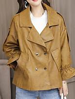 Недорогие -Жен. Кожаные куртки Однотонный, Хлопок