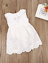 Недорогие -Дети Девочки Белый Однотонный Без рукавов Платье
