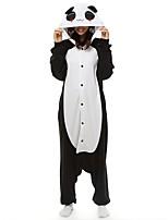 abordables -Adulte Pyjamas Kigurumi Panda Combinaison de Pyjamas Polaire Noir blanc Cosplay Pour Pyjamas Animale Dessin animé Halloween Fête / Célébration / Noël
