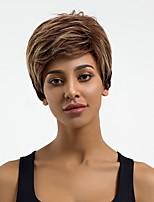 Недорогие -Человеческие волосы без парики Натуральные волосы Волнистый Стрижка под мальчика Природные волосы Разноцветный Без шапочки-основы Парик Жен. Повседневные